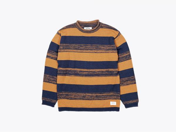 RAWLS STRIPE - KNIT ROLLED UP CREWNECK PULLOVER
