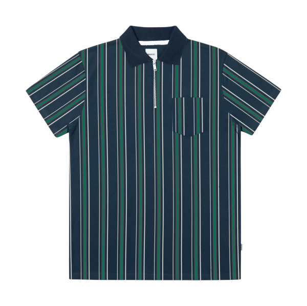 Ace Stripe - Organic Cotton Polo Zip Shirt